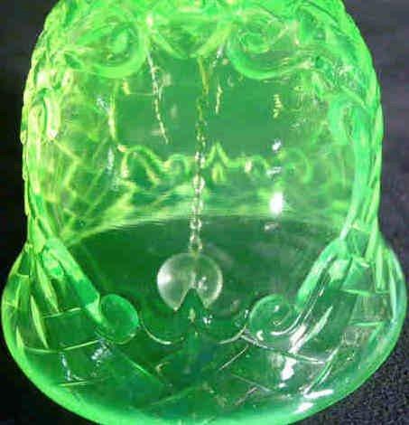 1201: Basket Weave Vaseline Glass Bell - 4