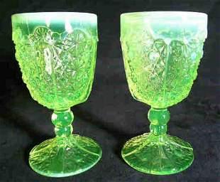 Pair Vaseline Glass Goblets Opalescent