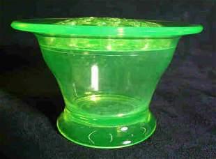 Vaseline Glass Bowl with Flower Frog 1924