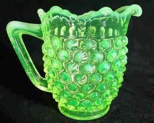 Fenton Creamer Hobnail Opalescent Vaseline Glass