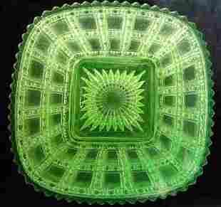 Imperial Vaseline Glass Plates Beaded Block