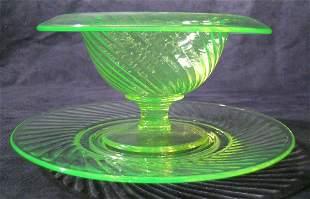 Twisted Optic Mayonnaise Vaseline Glass