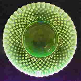 Fenton Opalescent Vaseline Glass Hob Nail Ruffled