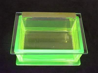 1209: Vaseline Glass Rare Jewelry Box