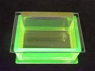 Vaseline Glass Rare Jewelry Box