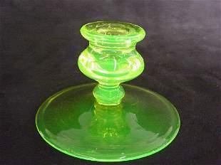 Vaseline Glass Candle Holder Cambridge