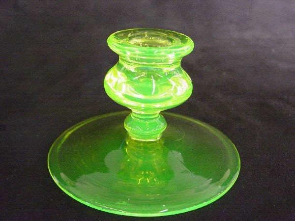 1210: Vaseline Glass Candle Holder Cambridge