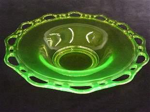 Duncan Miller Murano Lace Edge Bowl Vaseline Glas