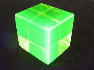 Deco Vaseline Glass Paperweight Block