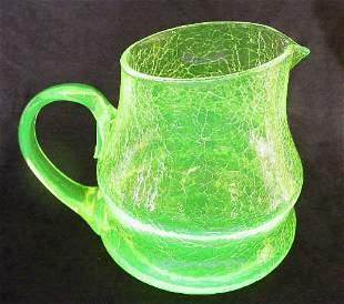 Frye Crackle Vaseline Glass Pitcher