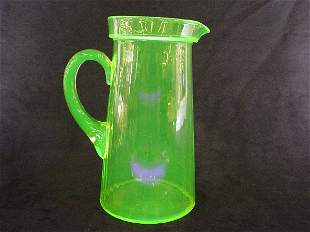 Tiffin Vaseline Glass Lemonade Pitcher