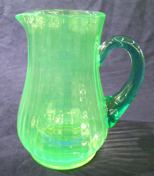 1218: Vaseline Glass Pitcher, Applied Handle