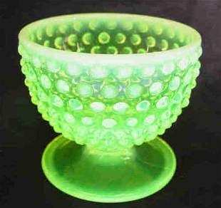 Fenton Vaseline Glass Hob Nail Footed Comport