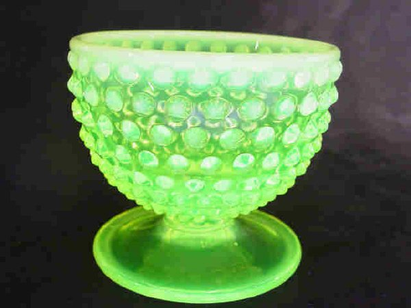 1219: Fenton Vaseline Glass Hob Nail Footed Comport - 3