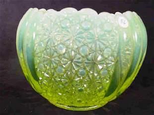Opalescent Vaseline Glass Rose Bowl