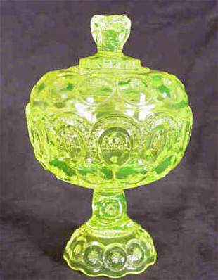 Moon and Star Candy Jar Vaseline Glass