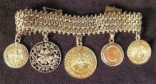 1331: Chunky Mesh Bracelet 14 K YG Coins
