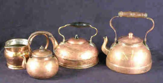 504: Lot Copper Kettles Collection