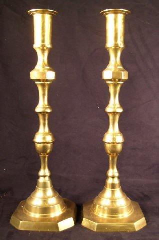 """511: Brass Altar Candlesticks Pair 18"""""""