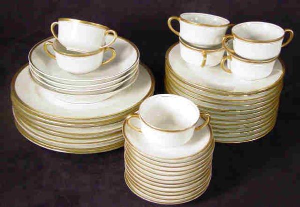 520: Vignaud Limoges Gold Rim Dinnerware