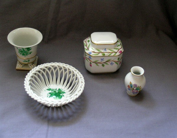 123: 4 PC. HEREND Cigarette & Trinket Boxes