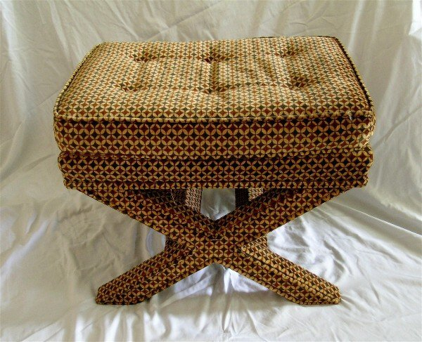 175: Velvet Upholstered X Bench