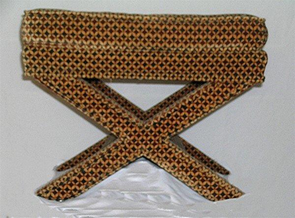 175: Velvet Upholstered X Bench - 2
