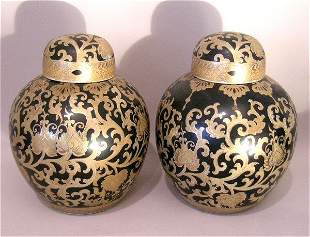 Pair of Chinese Black and Gold Ginger Jars