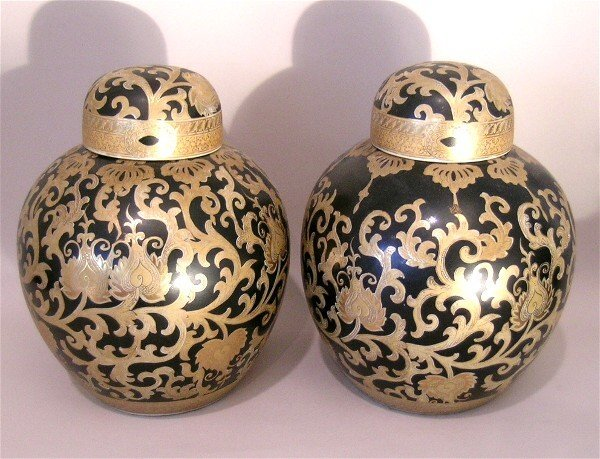 5: Pair of Chinese Black and Gold Ginger Jars
