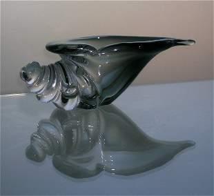 Mid Century Art Glass Shell Bowl