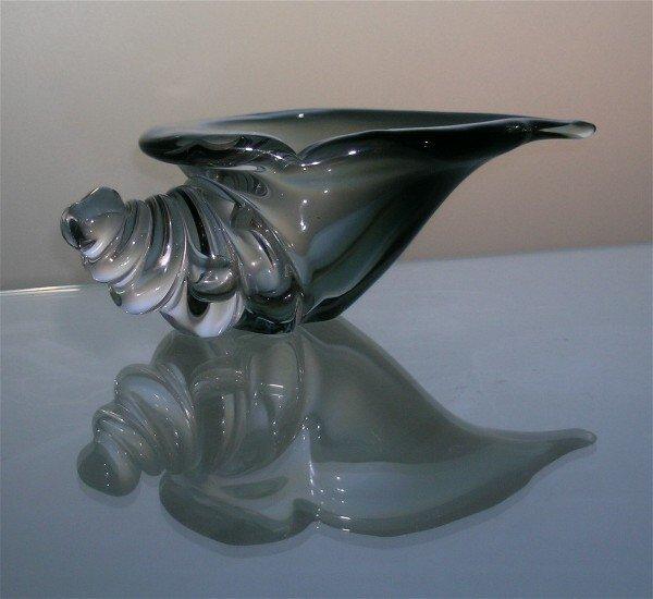 9: Mid Century Art Glass Shell Bowl