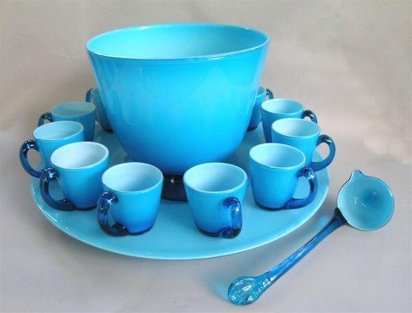 9A: Art Glass Opaline Punch Bowl Set