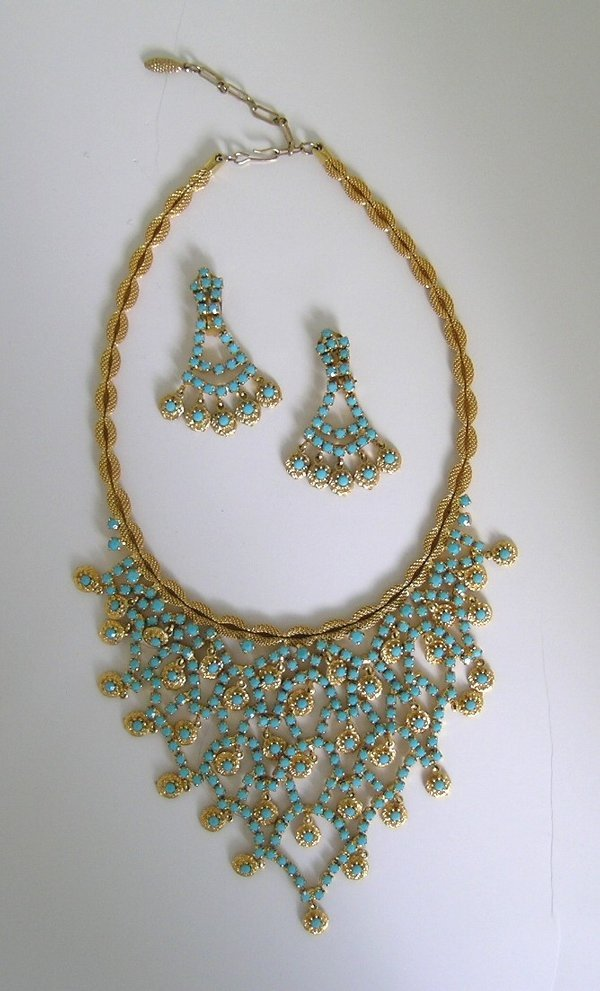 40: Vintage Bib Necklace and Earrings