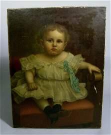 204: Portrait Painting Girl 19th c. Geo Roth