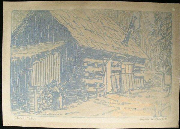 803: Chase 1931 Print  Vermont Church Cabin