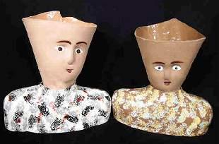 Pair Art Pottery Head Vases