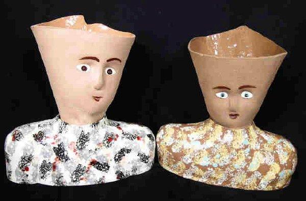 805: Pair Art Pottery Head Vases