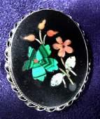 1045: Pietra Dura 19th c. Brooch Sterling