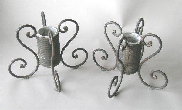 1001: Pair Coiled Metal Vases