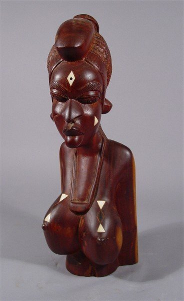 1002: African Carving Woman with Inlaid Breasts