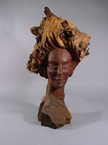 1003: Carved African American Bust Signed