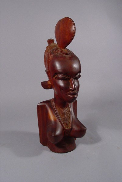 1004: African Carved Bust Woman