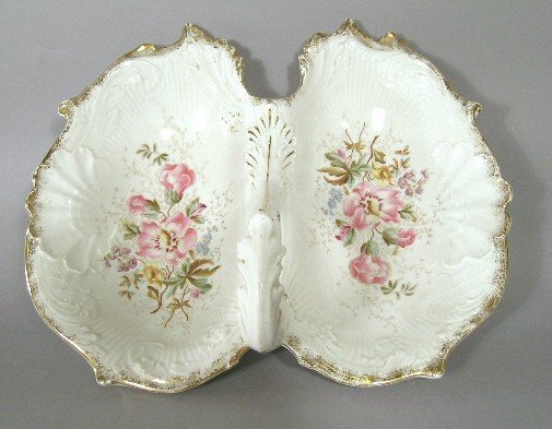1008: Victorian Divided Porcelain Basket