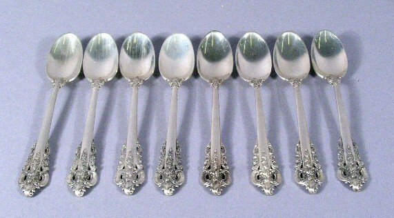 1012: Grand Baroque Demitasse Spoons 8 Wallace Sterling