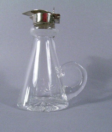1014: Glass Syrup Pitcher with Sterling Lid