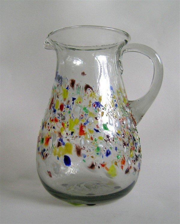 1015: Art Glass Pitcher Multi Color