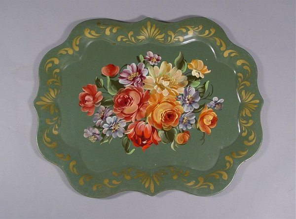 1034: Lot of Vintage Tole Painted Trays