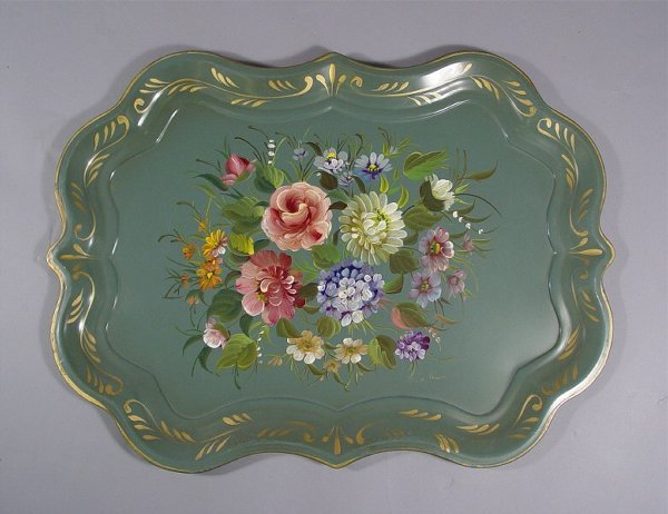 1034: Lot of Vintage Tole Painted Trays - 4