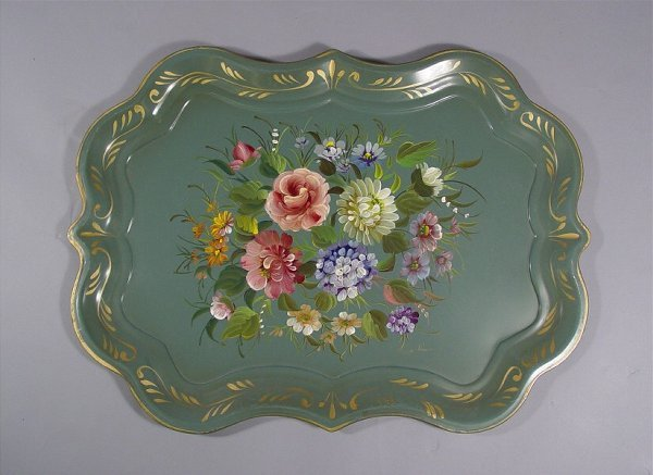 1034: Lot of Vintage Tole Painted Trays - 5
