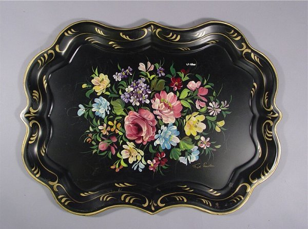 1034: Lot of Vintage Tole Painted Trays - 8